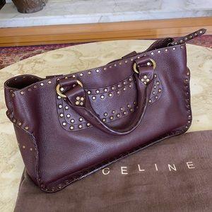 Rare Celine Boogie Bag Burgundy Studded Mint Shape